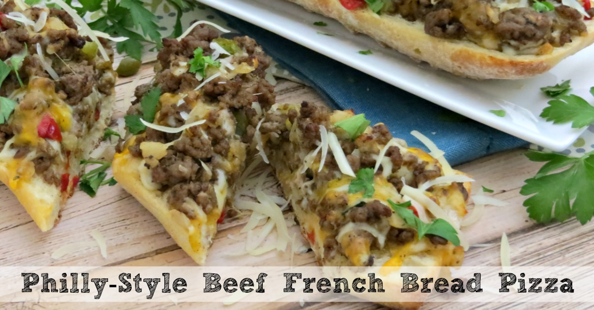 Cheesy philly style beef french bread pizza great game day recipe solutioingenieria Choice Image
