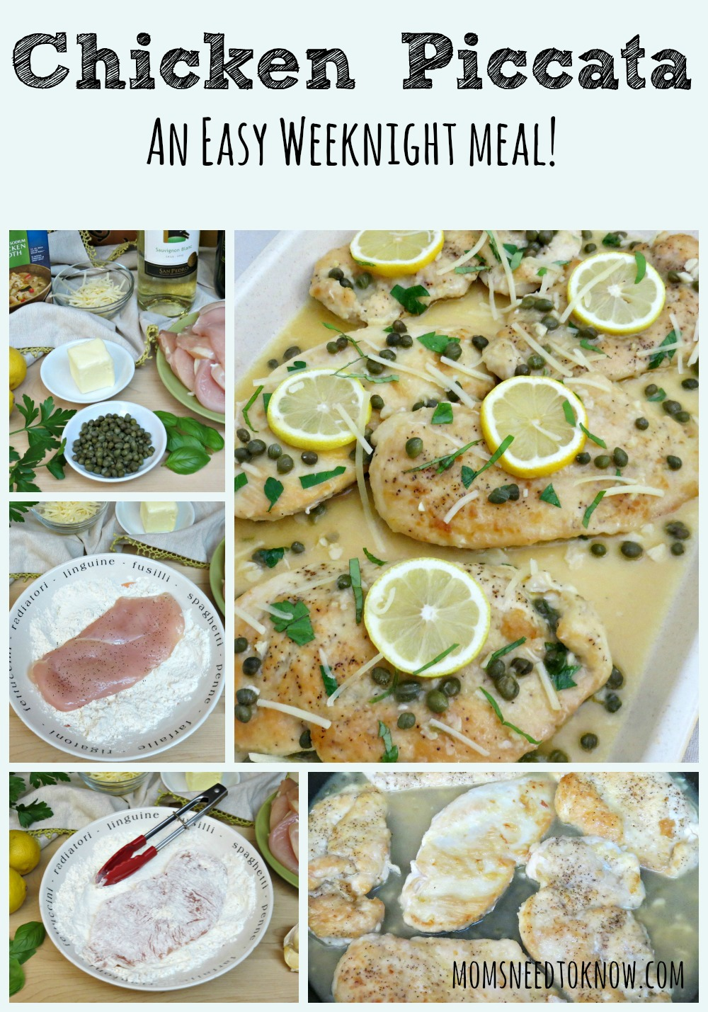 Chicken Piccata Recipe collage