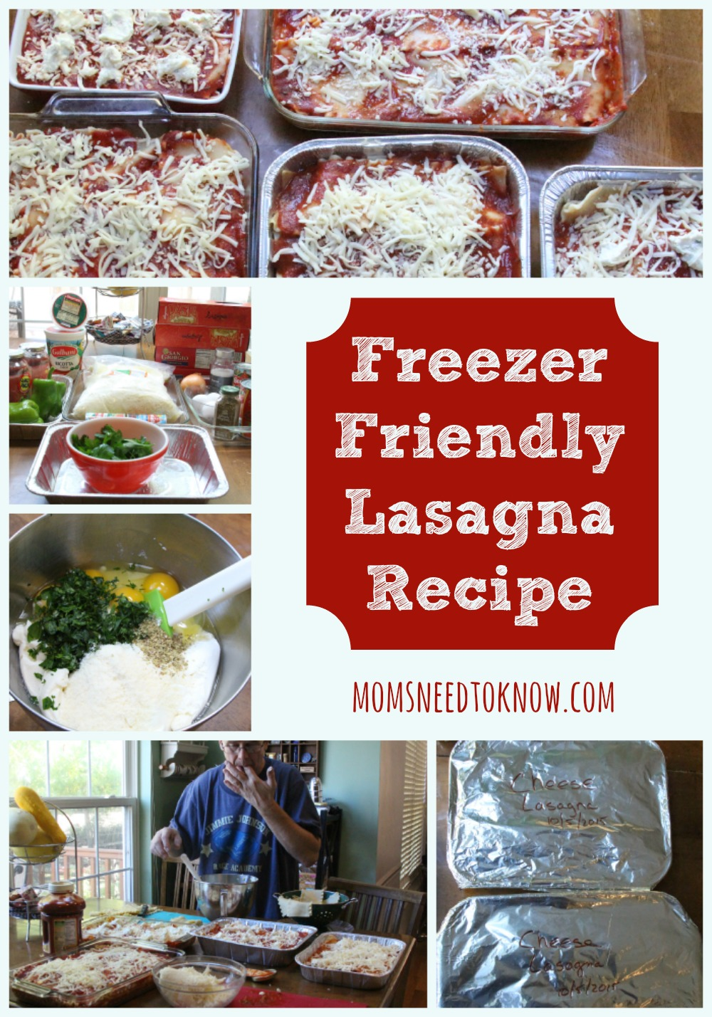 It is just as easy to make 4 lasagnas as it is to make 1 and this freezer friendly lasagna recipe is sure to be a hit in your family!