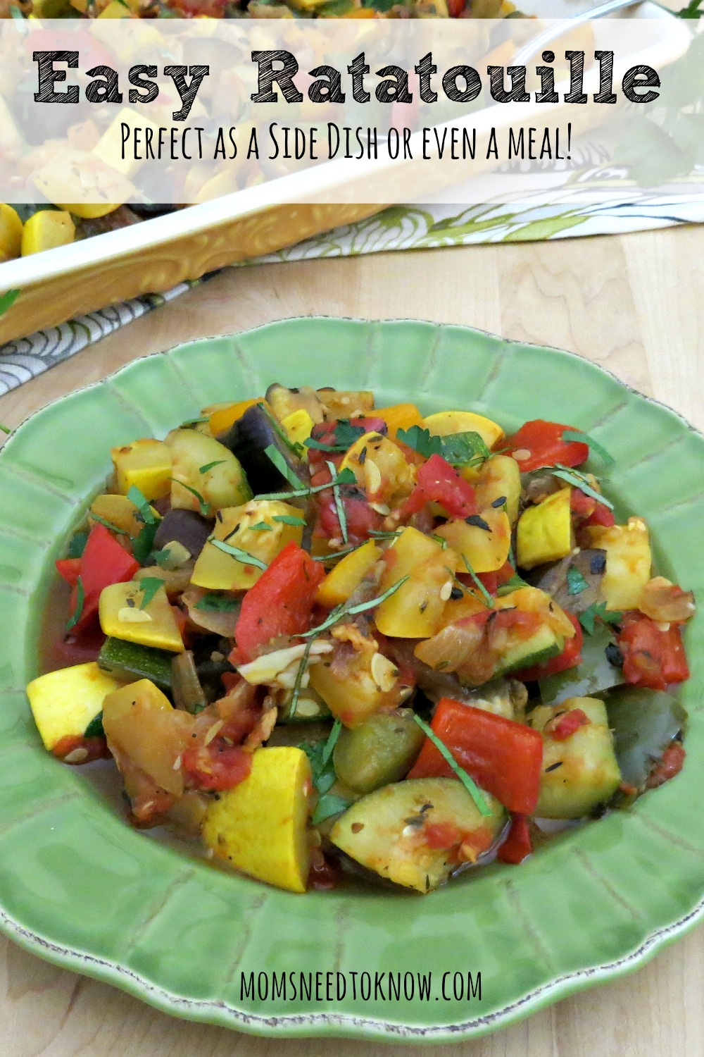 This easy ratatouille recipe is packed with flavor and makes a great side dish...or sprinkle some Parmesan cheese on it and it can be a dinner by itself!