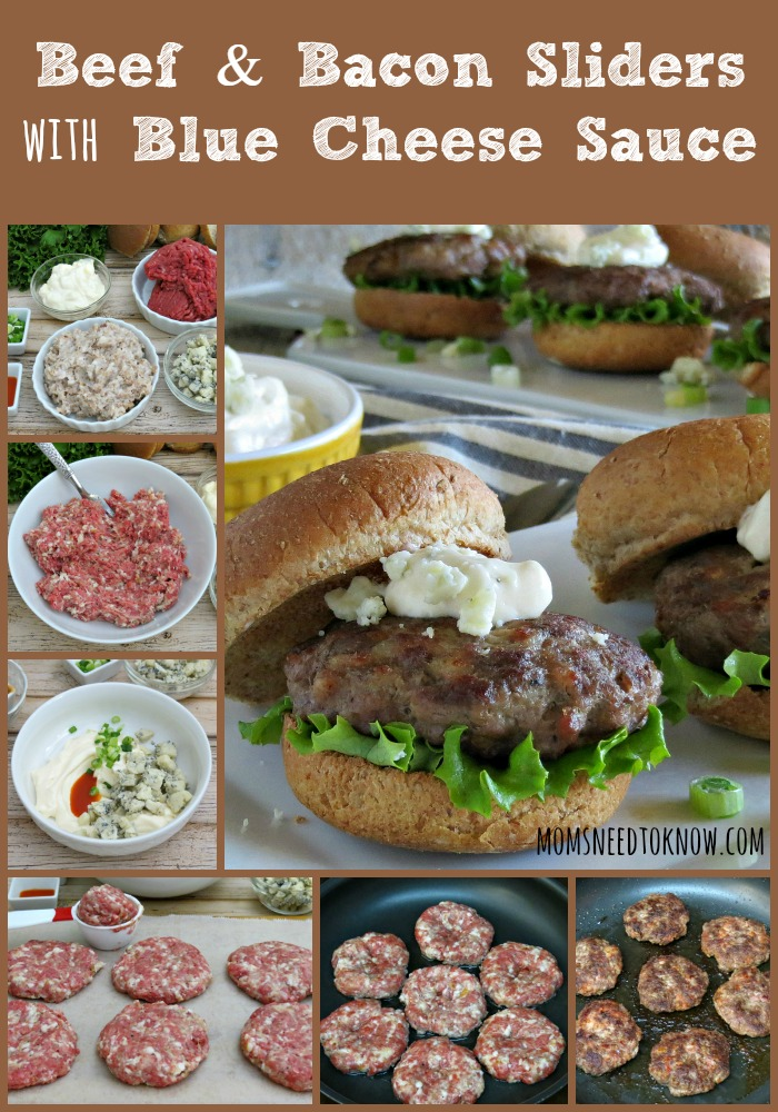 I don't know which is better - the smoky taste of these beef and bacon burgers or the blue cheese sauce that tops them!