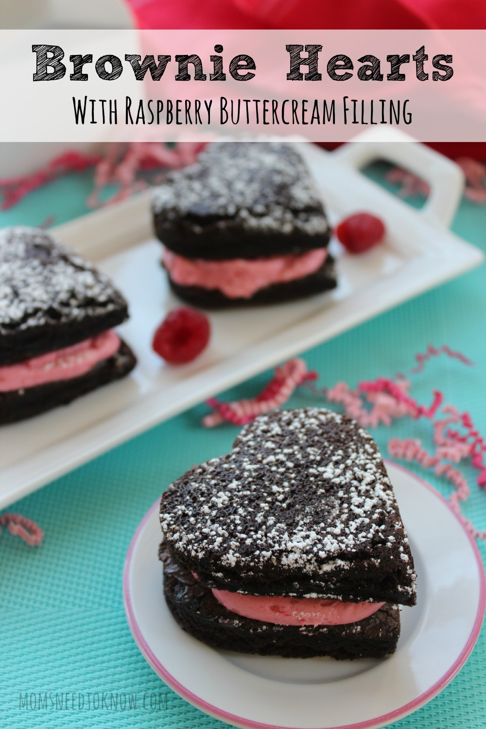 These brownie hearts with raspberry buttercream filling are so easy to make and perfect to take to any party! Your children will love helping you make them!