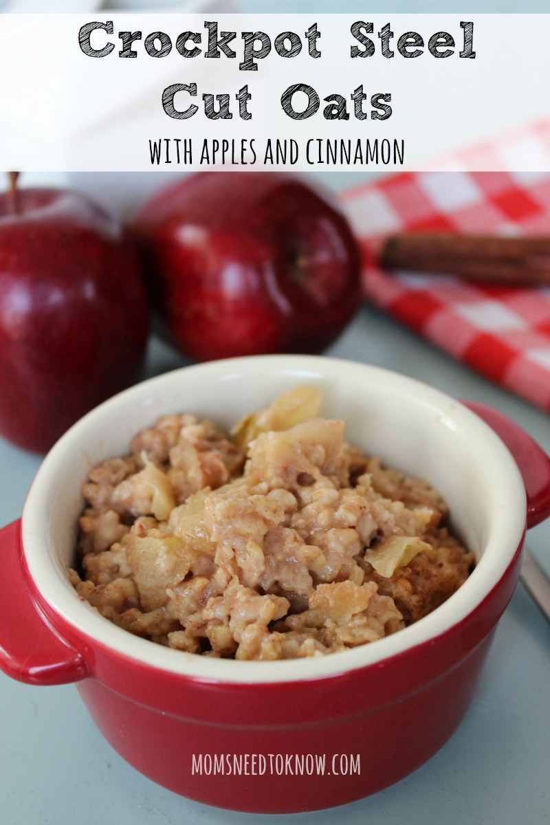 Put this crockpot steel cut oats recipe together at night before bed and wake up to the wonderful smells of apple & cinnamon and a hearty hot breakfast!