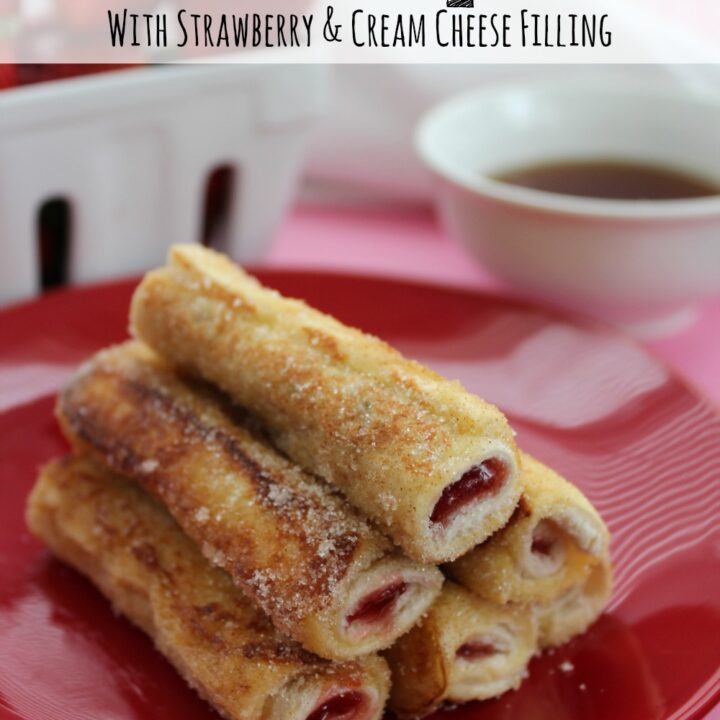 These French Toast Roll Ups are a new twist on a classic recipe. Easy to make (and can be frozen), you can customize the filling as much as you like!