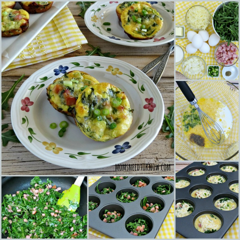 Mini Quiche Recipe with Ham and Arugula collage