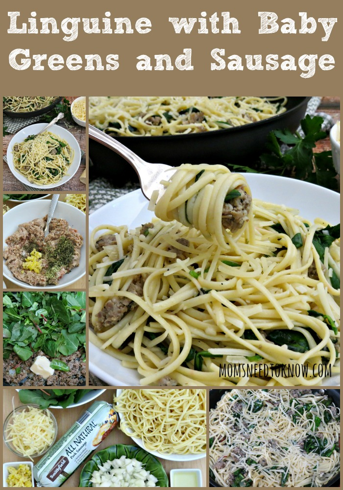 Pasta with Sausage and Baby Greens collage