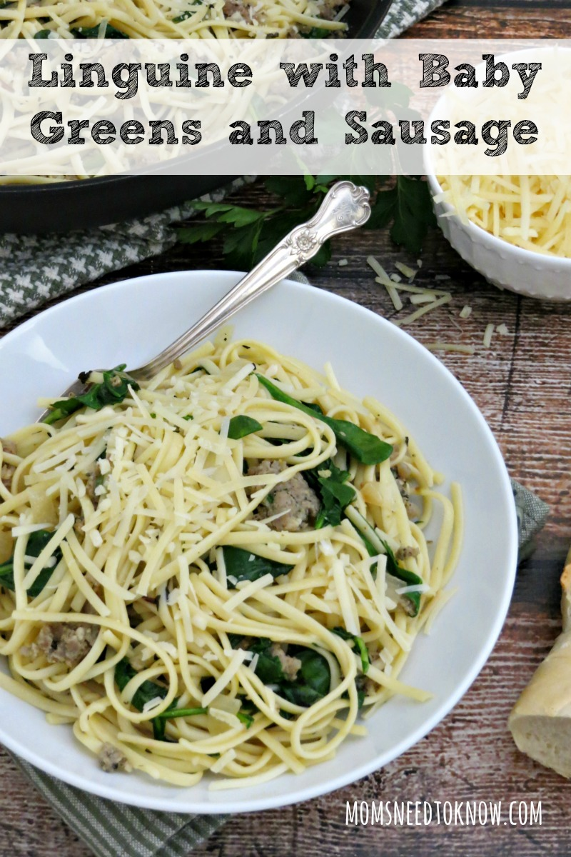 For an easy weeknight dinner, look no further than this pasta with sausage and baby greens. So easy to customize to your family tastes!