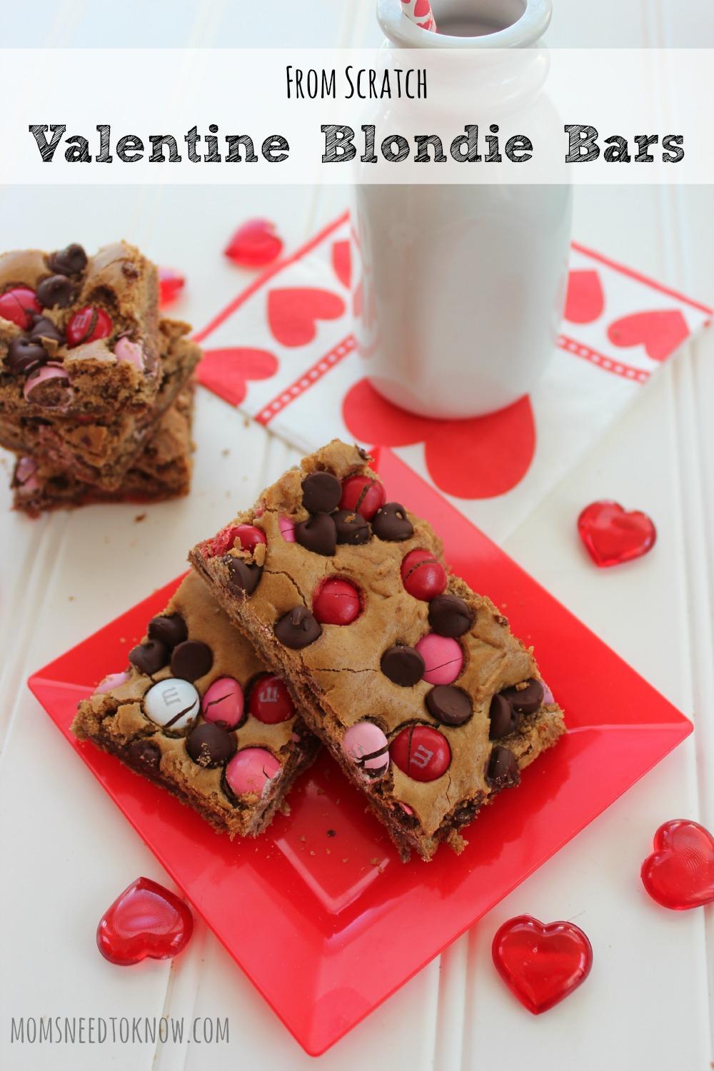 This blondie bars recipe can be customized for any holiday by just changing the color of the candies that you use. A nice change from regular brownies!