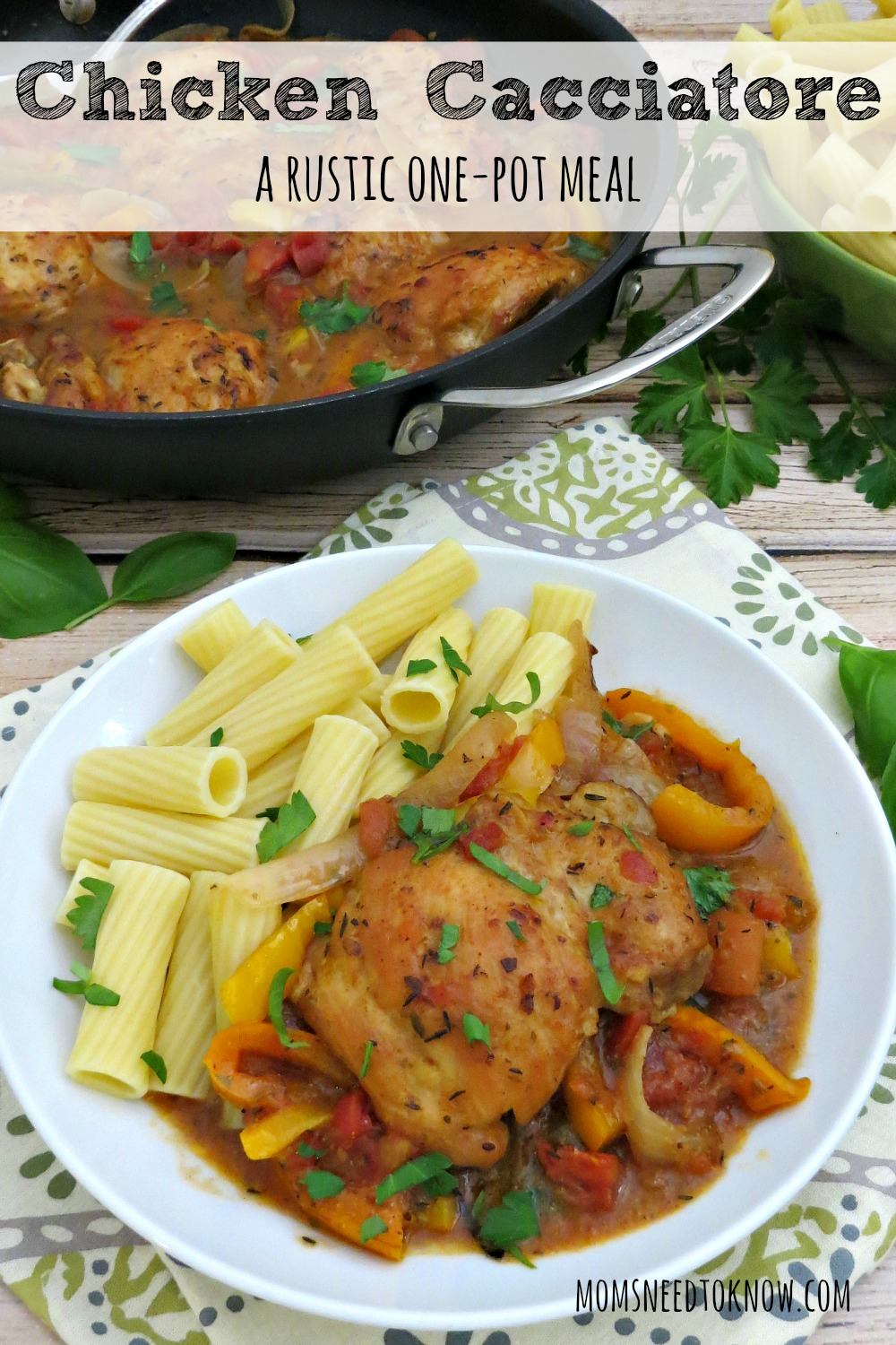 Chicken cacciatore is a one-pot, rustic dish that's comforting and absolutely delicious. And you don't have to be intimidated by the fancy name. It's incredibly easy to make!