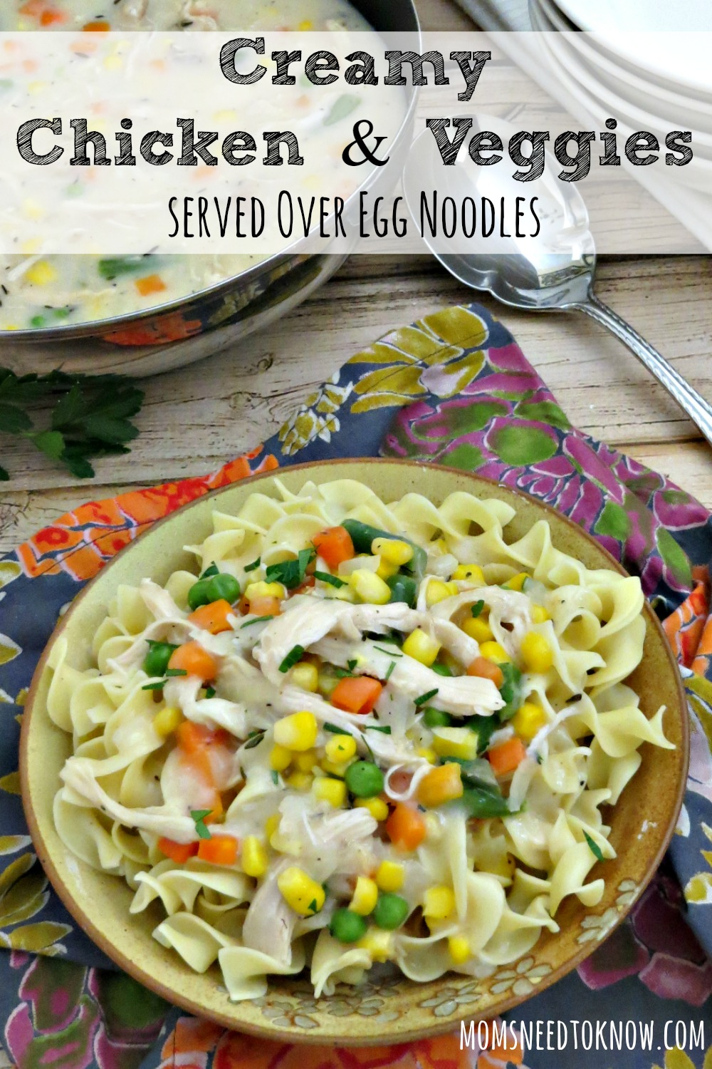 This creamy chicken and vegetables dish is made without the use of processed canned soup. It is absolutely delicious and made with real foods!