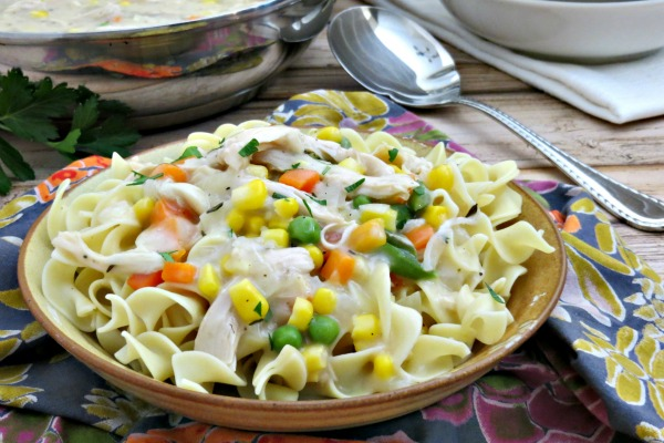 Creamy Chicken and Veggies Served Over Egg Noodles myf