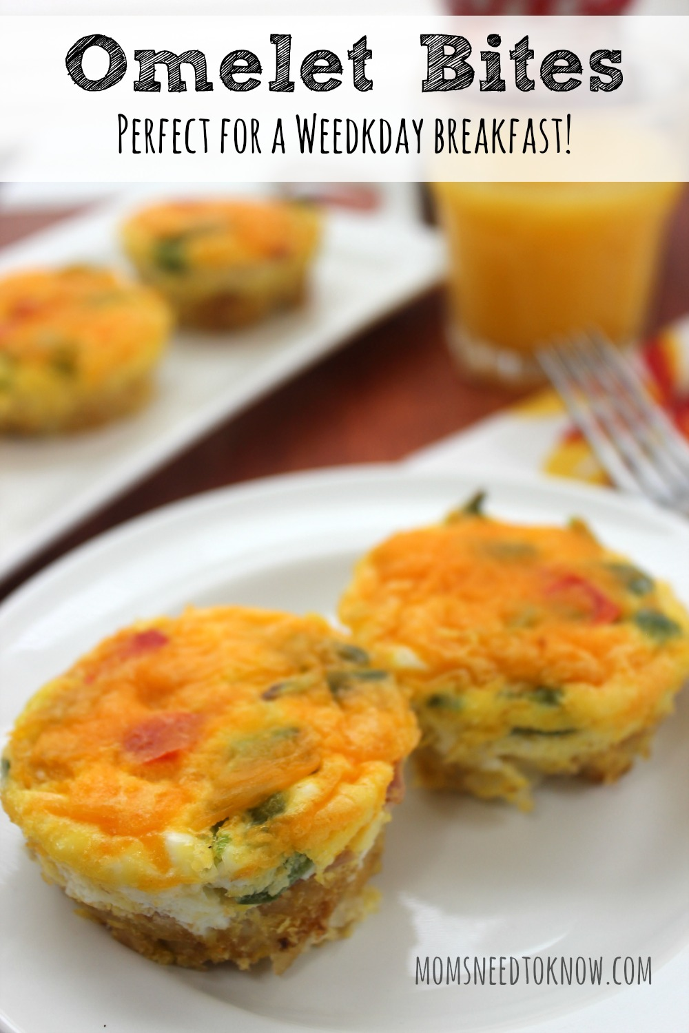 The reason I love this bite size egg omelet recipe? Everything is done at the same time and the entire family can sit down together and eat!