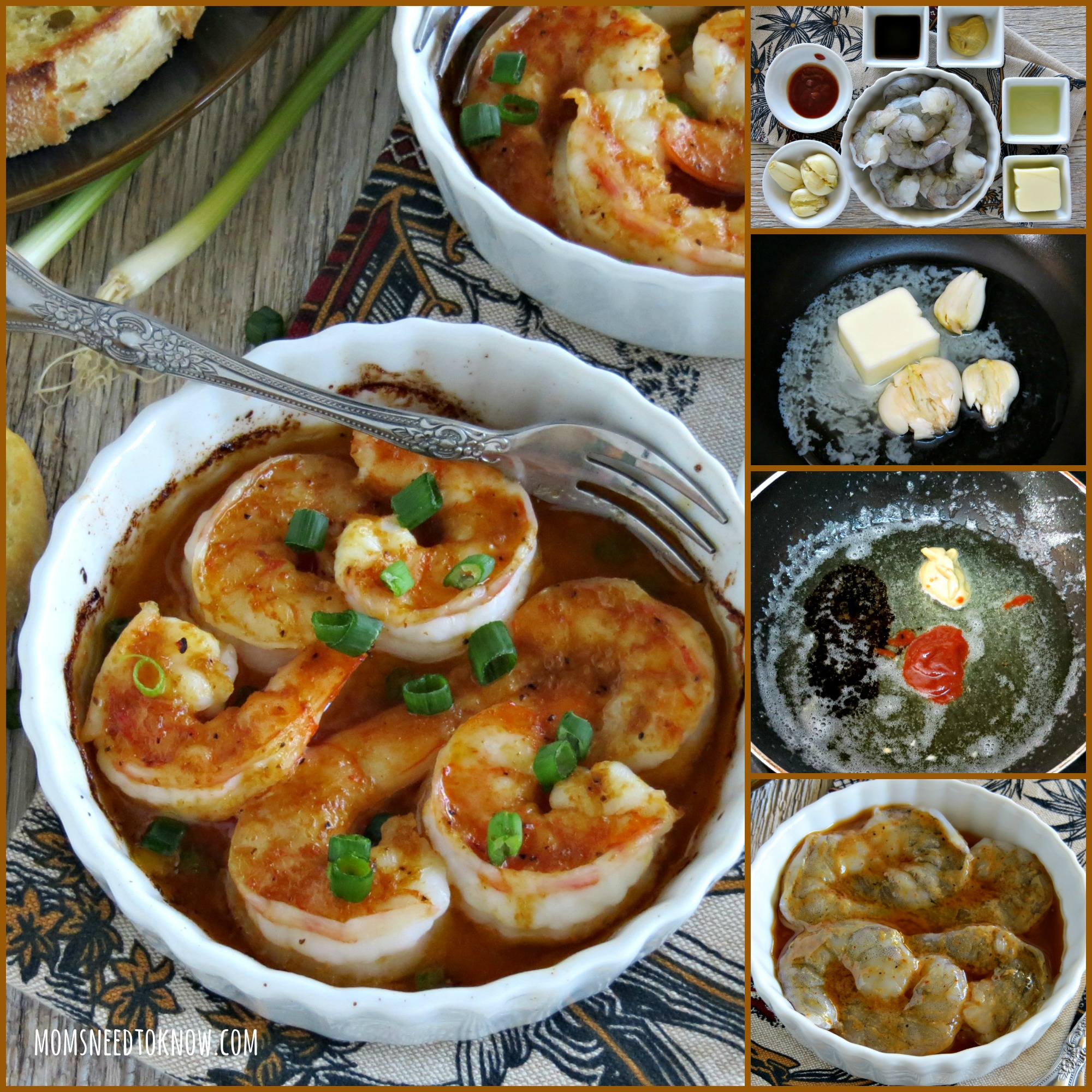 Garlic Shrimp with Sriracha Sauce collage
