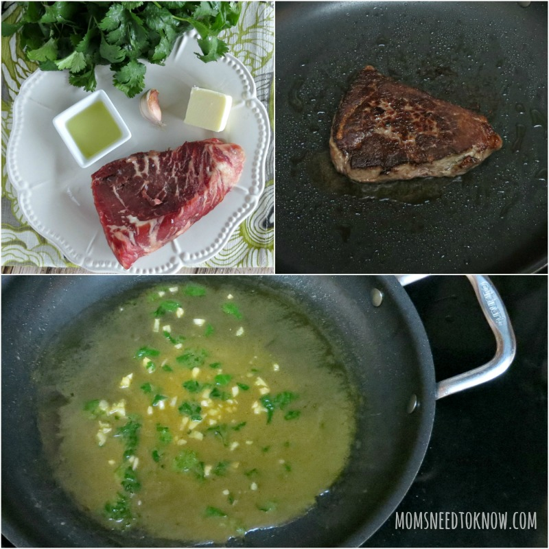 Pan Seared Steak with Cilantro Butter Sauce collage