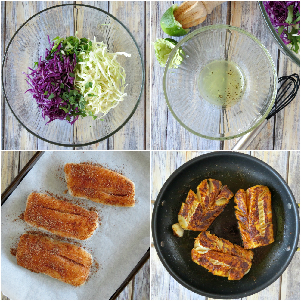 Blackened Fish Tacos with Cilantro Slaw collage