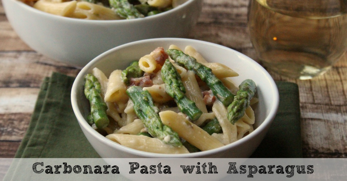 Carbonara Pasta with Asparagus Recipe | Moms Need To Know ™