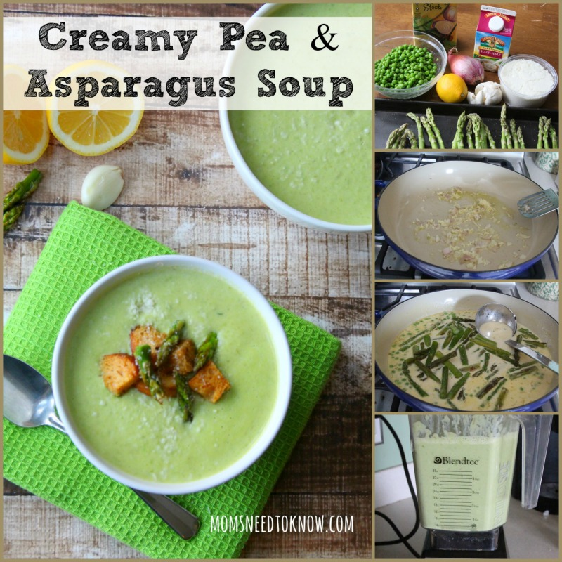 This creamy asparagus and pea soup is so easy to make and delicious served hot or cold! The seasoned baked asparagus gives this soup an incredible depth of flavor!