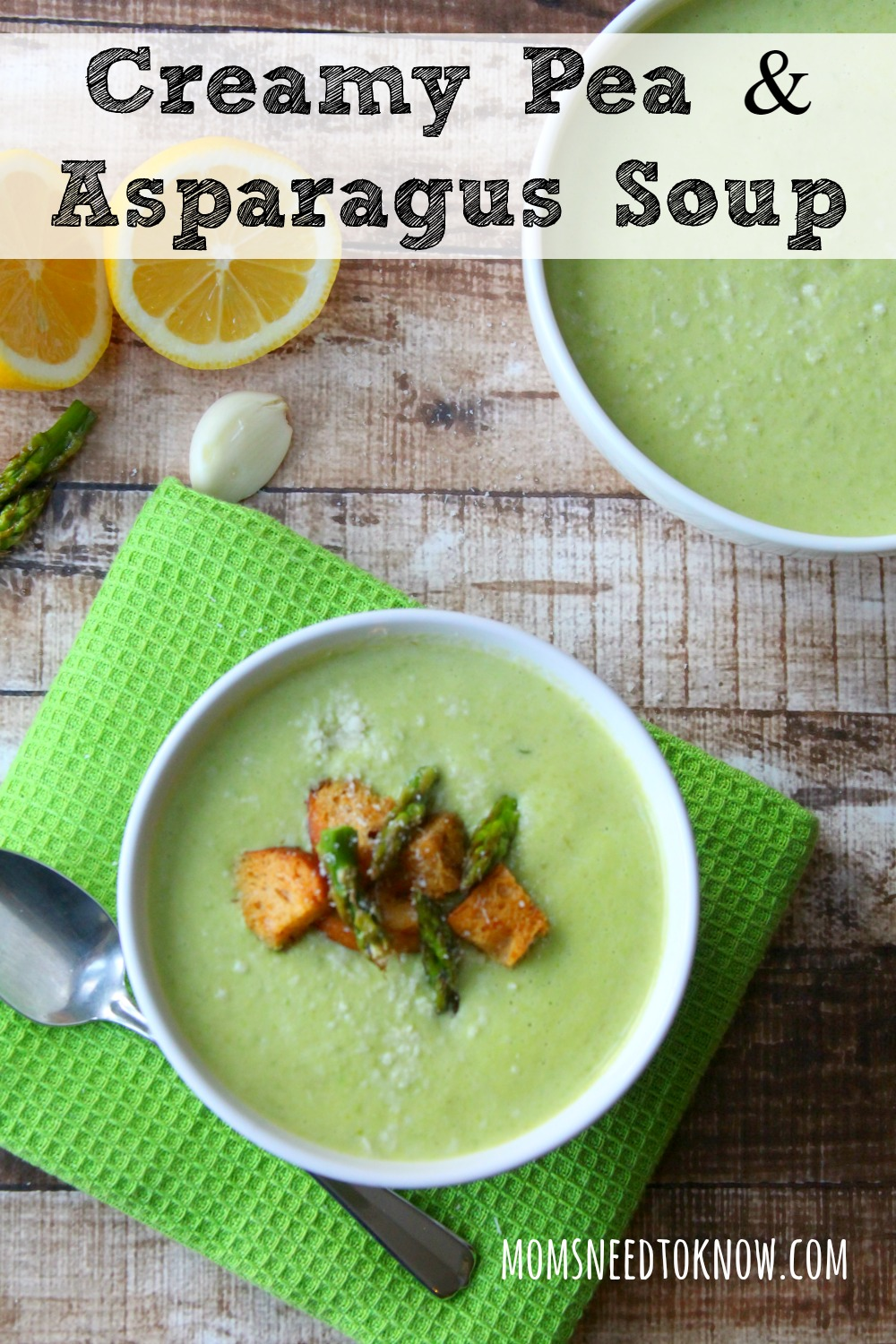 This creamy asparagus and pea soup is so easy to make and delicious served hot or cold! The baked asparagus gives this soup an incredible depth of flavor!