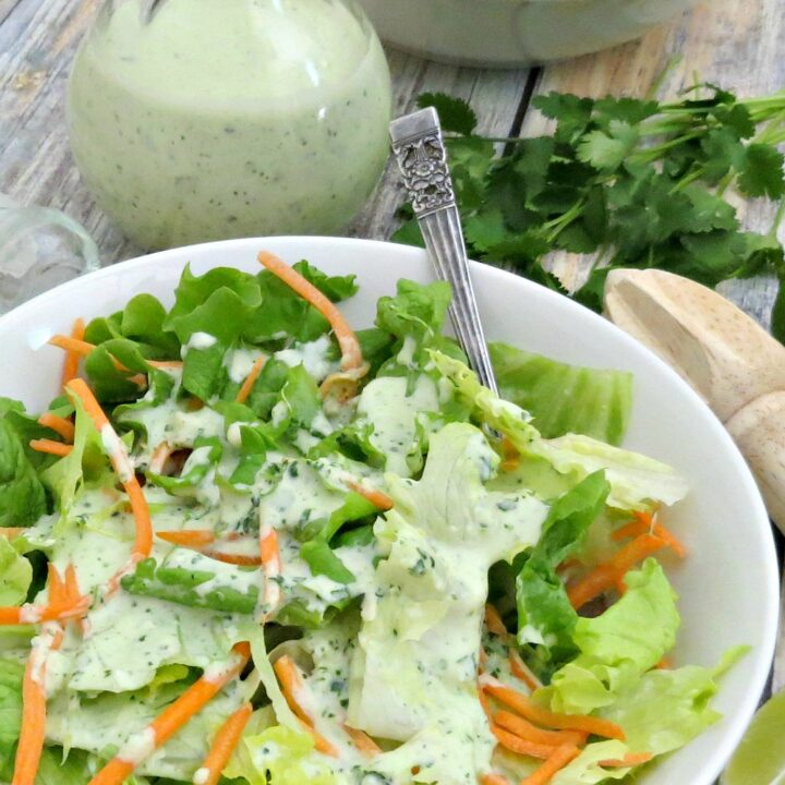 This creamy cilantro lime dressing can be used as a dressing for salads or as a light sauce for meats. It's absolutely delicious drizzled over fish tacos!