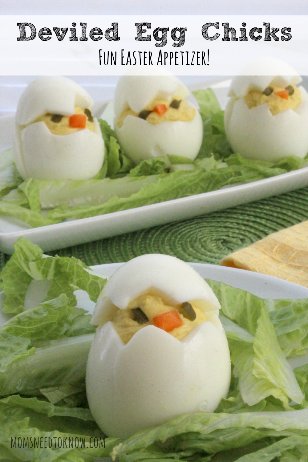 Deviled eggs are always on our Easter table (and any holiday dinner that our family ever has) and these deviled egg chicks will look so cute on your table!
