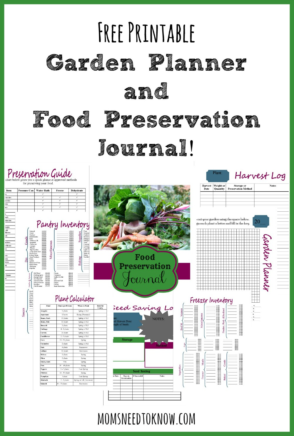 With this free printable garden planner not only can you map out your entire garden, but plan for all your canning and freezing needs!