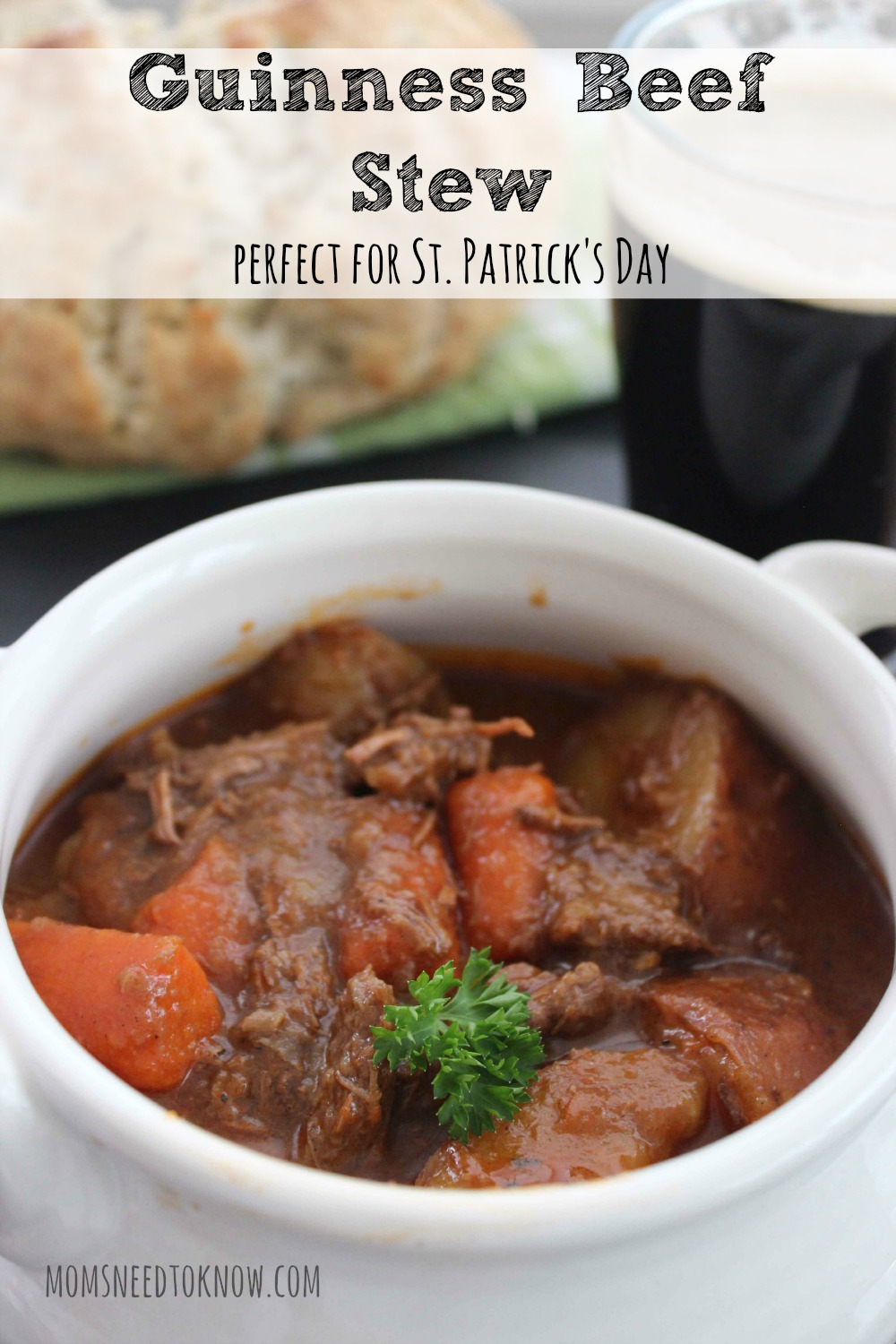 This Guinness Beef Stew recipe is so hearty and comforting on a cold winter's day. Perfect for St. Patrick's Day or any day of the year!