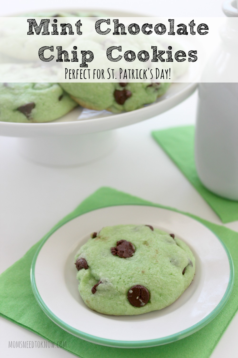 This Mint Chocolate Chip cookie recipe is a favorite in our house! So easy to make and a fun alternative to regular chocolate chip cookies.