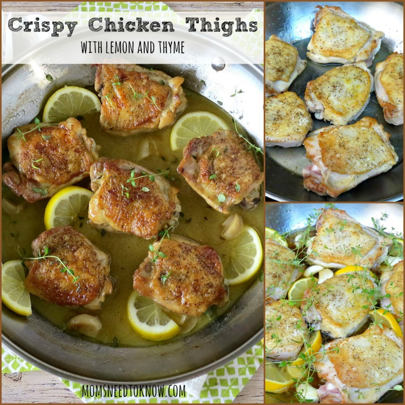 Crispy Chicken Thighs with Lemon and Thyme collage