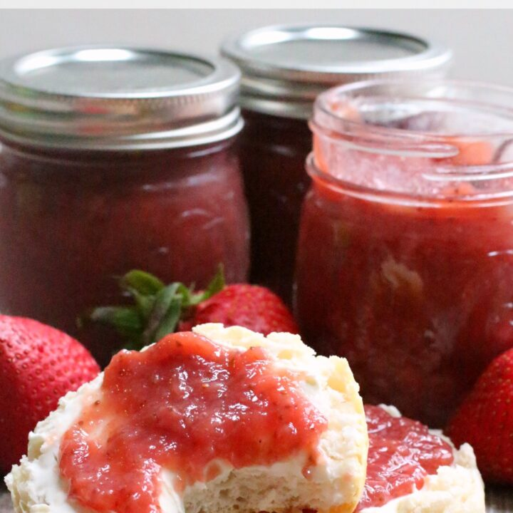 This strawberry jam recipe takes very little time to make and you don't even need to add pectin. It can easily be canned or frozen, so make a big batch!