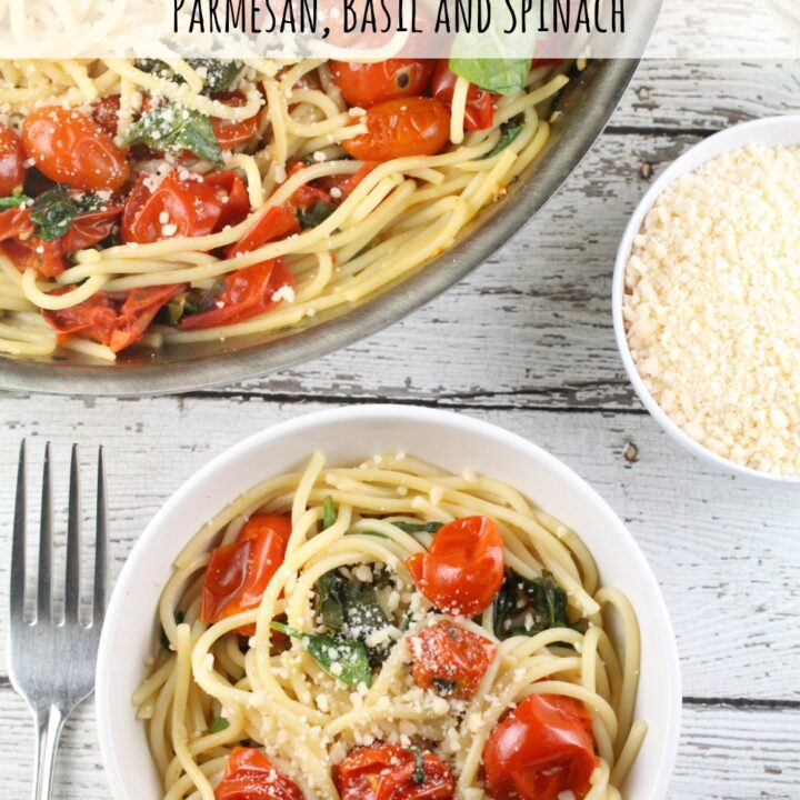 My cherry tomatoes were out of control and this Cherry Tomato Sauce with pasta, basil, spinach and Parmesan was the perfect way to use them in a light meal!