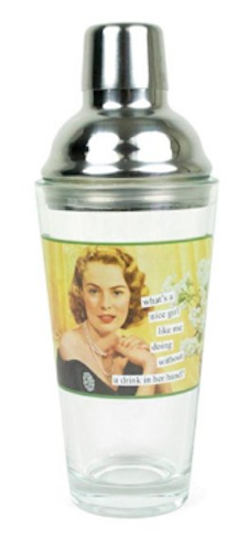 Anne Taintor Stainless Steel Cocktail Martini Shaker - A Nice Girl Like Me