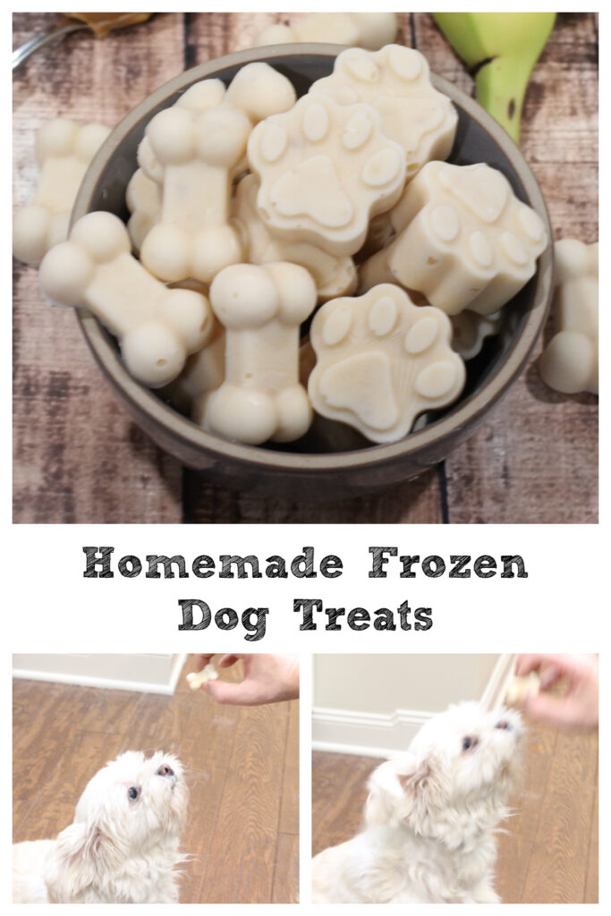 Just 4 ingredients go in to these homemade frozen dog treats! Easy to make and your dog will go crazy for them!